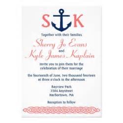 anchor wedding invitations nautical anchor wedding invitation navy and coral 5 quot x 7 quot invitation card zazzle