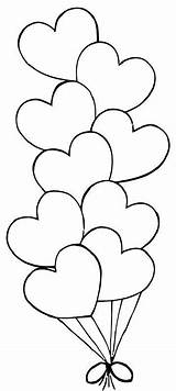 Balloons Valentine Hearts Coloring Pages Heart Visitar Valentines Colouring sketch template