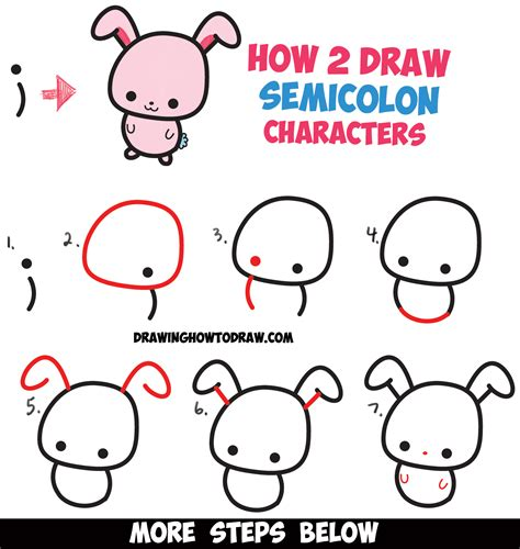 draw cute cartoon characters  semicolons easy