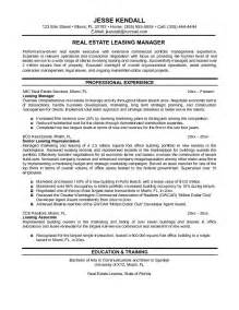 resume for office manager real estate exle real estate leasing manager resume free sle