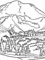 Coloring Mountain Mountains Pages Printable Range sketch template