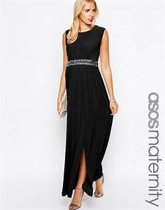 robe longue grossesse noire ceinturee habillee pour grande With robe longue grande occasion