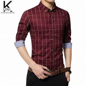 shirt plaid 2016 new mens long sleeve casual slim fit With men s wedding dress shirts