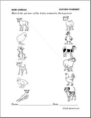 Free Primary Animal Worksheets  Worksheet Baby Animals  Match Babies To Adults (preschool