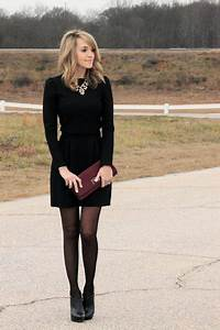 Black dress with tights and booties | dress me | Pinterest | Black Clothes and Statement necklaces