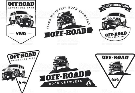 Set Of Classic Off-road Suv Car Emblems, Badges And Icons