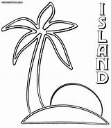 Island Coloring Pages Palm sketch template