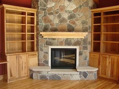 Fireplace Wood Corner Stone Above Indoor Burning
