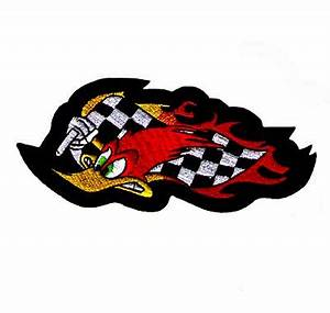 Wild Woody Woodpecker with Racing Flag Iron On Cartoon Patch