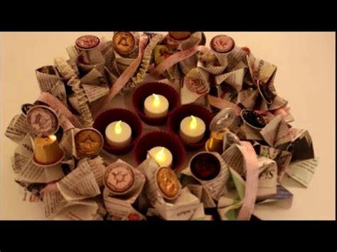 diy weihnachten und advent adventskranz aus zeitungen kaffeekapseln basteln upcycling