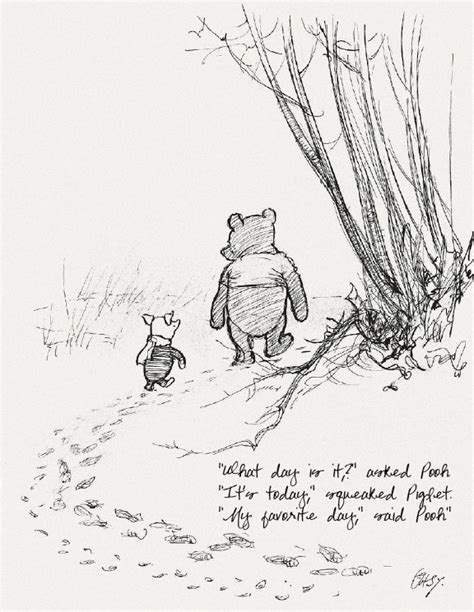 winnie  pooh original drawing  quote pure ella