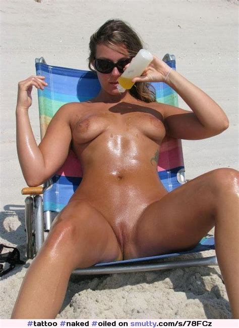 Naked Oiled Milf Sunbathing Beach Shavedpussy