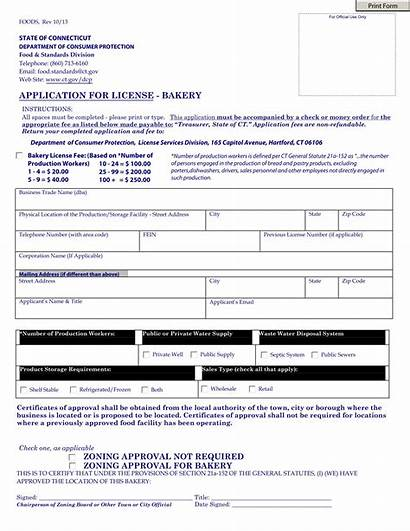 Application Bakery License Business Form Forms Opening