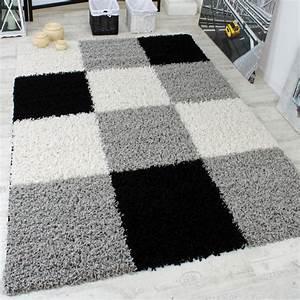 Teppich Schwarz Weiß : shaggy teppich hochflor langflor gemustert in karo grau ~ A.2002-acura-tl-radio.info Haus und Dekorationen