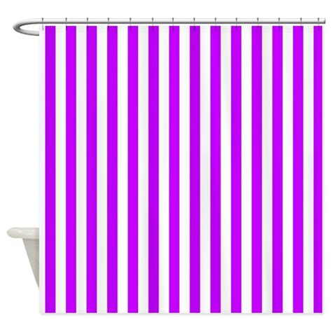 purple and white striped pattern shower curtain by