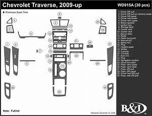 Chevrolet Traverse 2009 2010 2011 Dash Trim Kit A