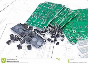 Circuit Boards And Components With Schematics Stock Photo