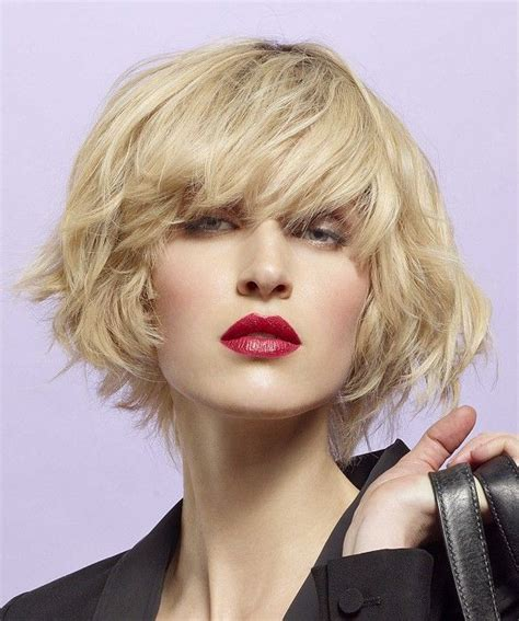 short blonde wavy coloured french womens volume haircut
