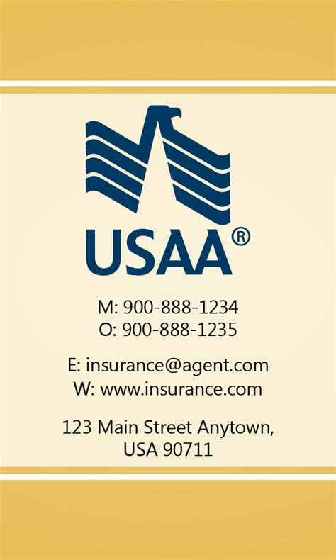 yellow usaa business card design