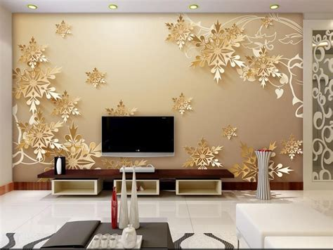golden snowflakes  room wallpaper beautiful bedroom