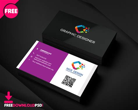nice graphic designer business card freedownloadpsdcom