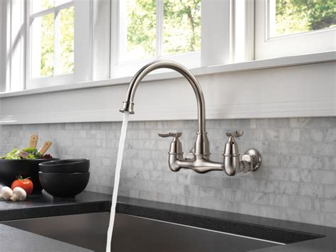 handle wall mounted kitchen faucet lf ss delta