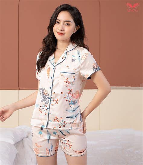 Pijama tay ngắn quần cộc họa tiết hoa mẫu đơn H164 - Vingo ...