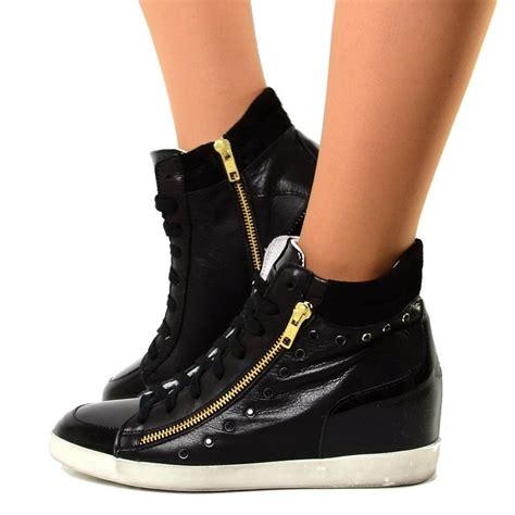 Sneaker Zeppa Interna - sneakers alte donna con zeppa interna in pelle con strass
