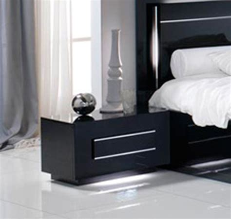 chevet de chambre chevet 1 tiroir city laque noir chambre à coucher