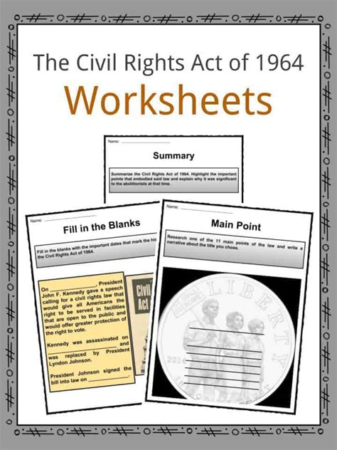 The Civil Rights Act Of 1964 Facts & Worksheets For Kids