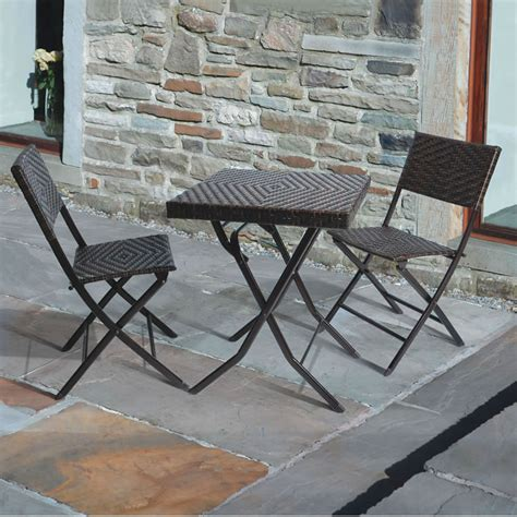 garden patio slate tiled rattan bistro dining table