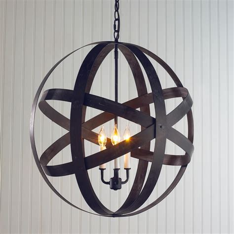Globe Chandelier Lighting by Rustic Metal Globe Lantern Large 3 Light Home
