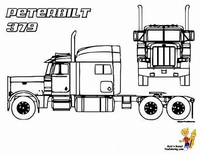 Peterbilt Coloring Trucks Truck Pages Semi 379