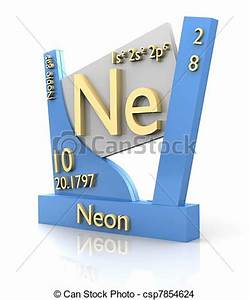 Drawing of Neon form Periodic Table of Elements V2