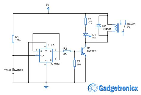 Touch Switch Circuit Diagram Using Flip Flop Gadgetronicx