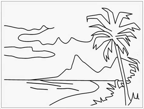 gambar mewarnai pemandangan alam pantai hitam putih mewarnai