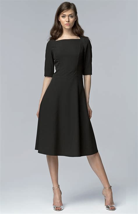 Black small sleeves flared cocktail dress NIS63N  idresstocode online boutique of negligee and ...