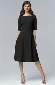 black small sleeves flared cocktail dress nis63n With robe cocktail manche longue