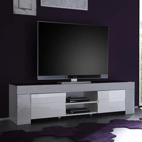 meuble tv blanc laqu 233 et bois gris moderne elios 2 salon design ou contemporain table basse