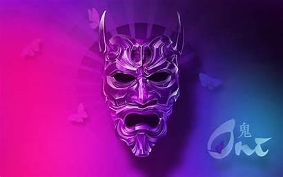 4k Oni Mask Wallpapers Neon Eyes Wide