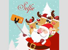 Christmas template illustration with selfie santa and