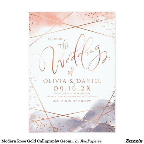 Dawn Watercolor Geometric calligraphy wedding Invitation