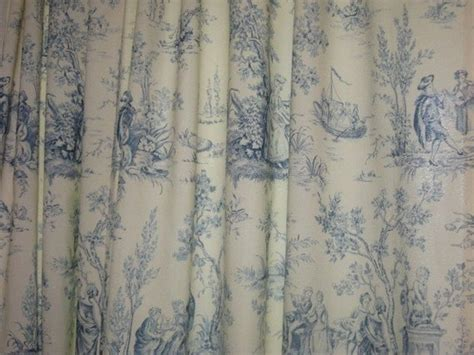 blue  ivory toile curtain panel pair