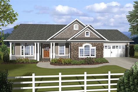 two house plans with front porch 3 bedroom ranch with covered porches 20108ga 1st floor