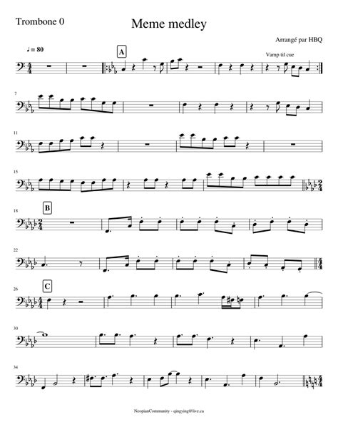 Jw pepper ® is your sheet music store for band, orchestra and choral music, piano sheet music, worship songs, songbooks and more. Meme medley trombone 0 Sheet music for Trombone (Tenor) (Solo)   Musescore.com