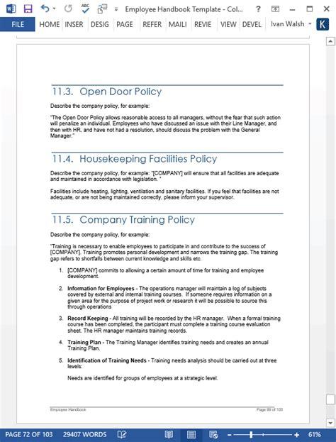 Employee Handbook Template Employee Handbook Template 100 Pg Ms Word