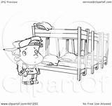 Bed Bunk Coloring Clip Summer Camp Outline Boy Cartoon Sketch Template Looking Beds sketch template
