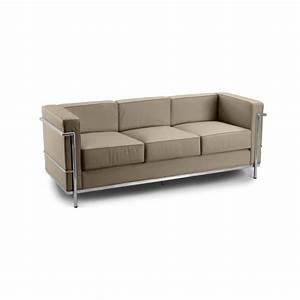 canape design lc2 inspire charles le corbusier 3 p achat With tapis de yoga avec canapé le corbusier lc3