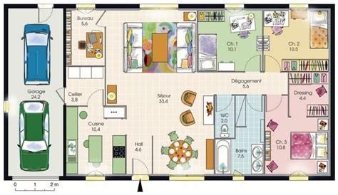 les 3 chambres plan de maison plain pied avec suite parentale mezzanine