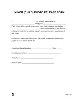 free minor child photo release form word pdf eforms free fillable forms